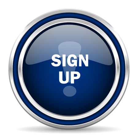 subscribing: sign up blue glossy web icon