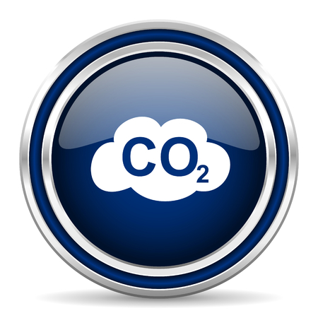 dioxido de carbono: dióxido de carbono icono azul brillante Web Foto de archivo