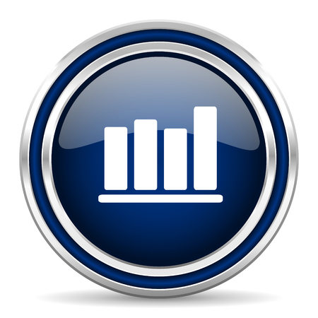 report icon: bar chart blue glossy web icon