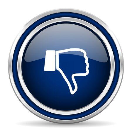 dislike: hekel blauwe glossy web pictogram Stockfoto