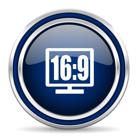 16: 16 9 display blue glossy web icon