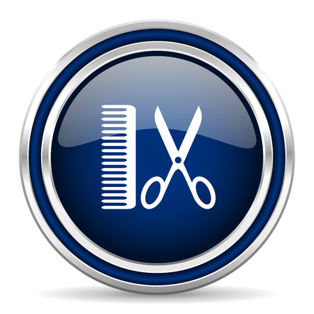 shampooing: barber blue glossy web icon