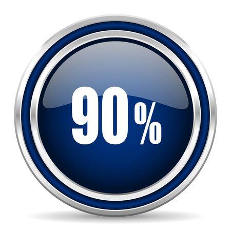 90: 90 percent blue glossy web icon Stock Photo