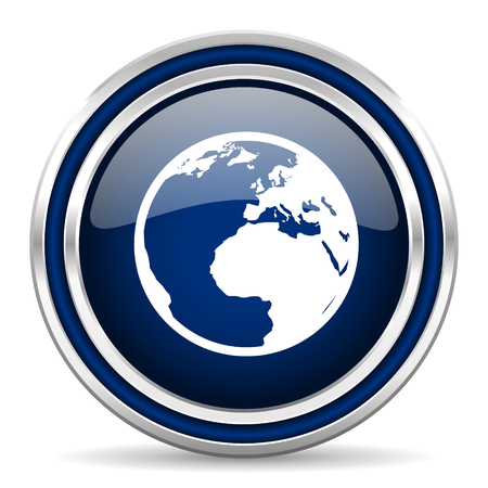 parallels: earth blue glossy web icon
