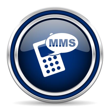 mms: mms blue glossy web icon Stock Photo