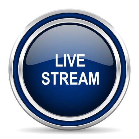 live stream tv: live stream blue glossy web icon