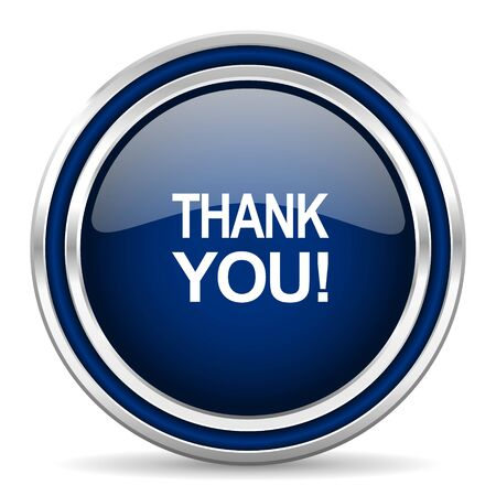 blue you: thank you blue glossy web icon
