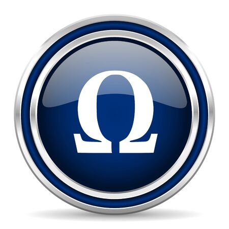 omega: omega blue glossy web icon