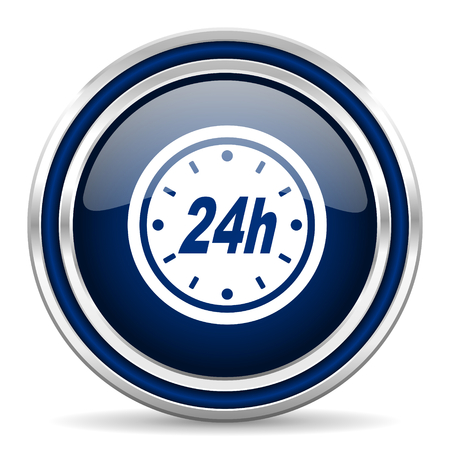 24h: 24h blue glossy web icon