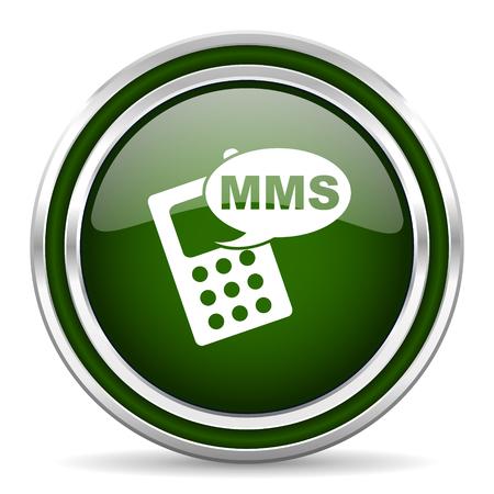 mms: mms green glossy web icon