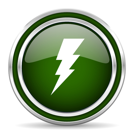 amperage: bolt green glossy web icon Stock Photo