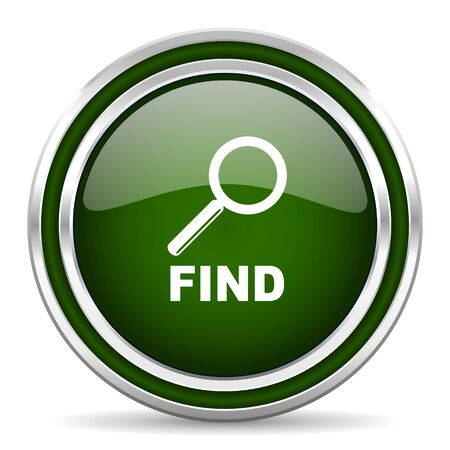 to find: find green glossy web icon Stock Photo