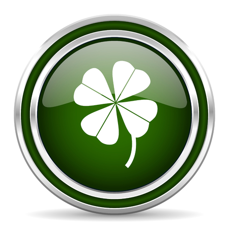 shamrock: four-leaf clover green glossy web icon Stock Photo