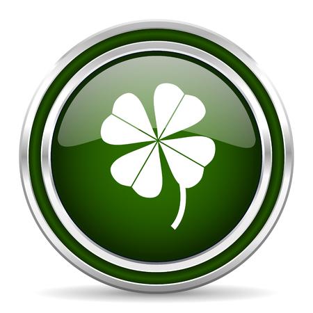 four leaf: four-leaf clover green glossy web icon Stock Photo