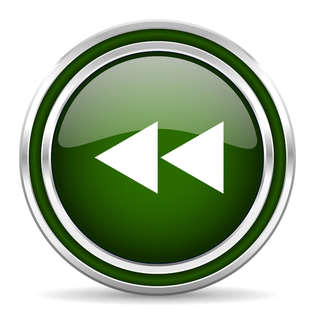 rewind: rewind green glossy web icon Stock Photo