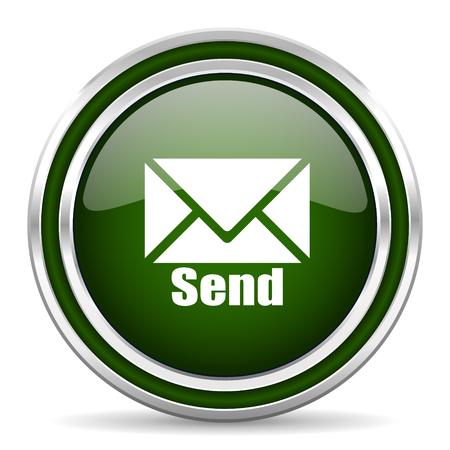 send: send green glossy web icon Stock Photo