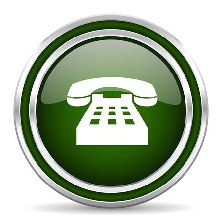 technological and communication: phone green glossy web icon