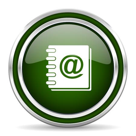 address book: address book green glossy web icon