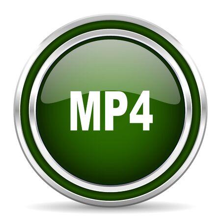 mp4: mp4 green glossy web icon