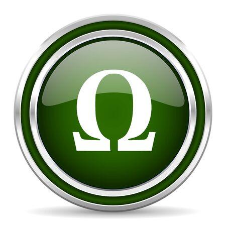 omega: omega green glossy web icon