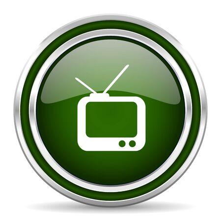 programm: tv green glossy web icon