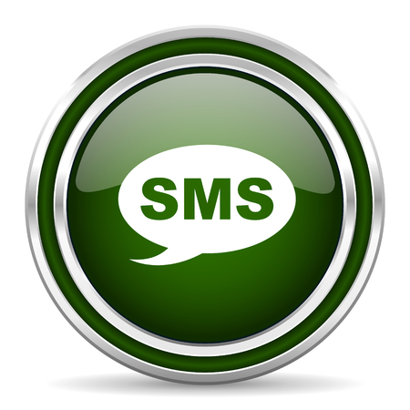 sms: sms green glossy web icon Stock Photo