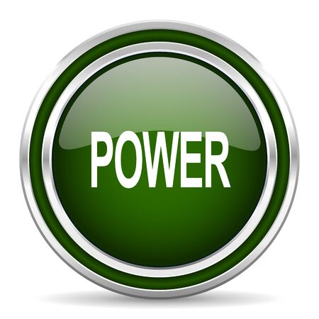 green power: power green glossy web icon