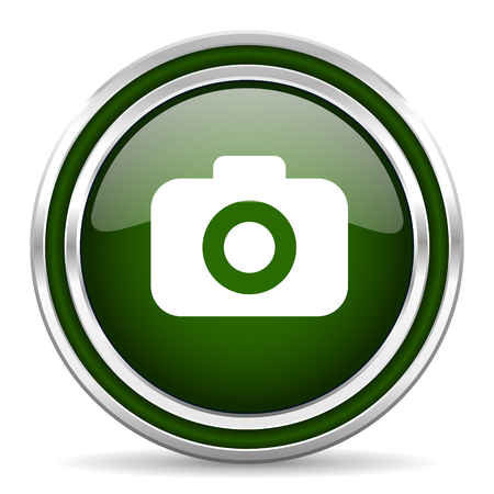 picto: photo camera green glossy web icon Stock Photo