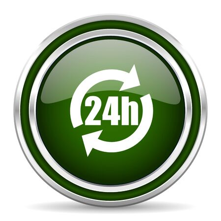 24h: 24h green glossy web icon Stock Photo