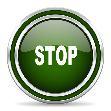 proscribed: stop green glossy web icon Stock Photo