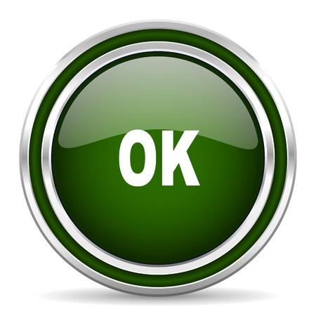 ok icon: ok green glossy web icon