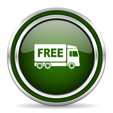 deliverance: free delivery green glossy web icon Stock Photo