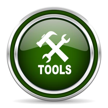 option key: tools green glossy web icon