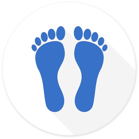 long toes: foot flat design modern icon with long shadow for web and mobile app