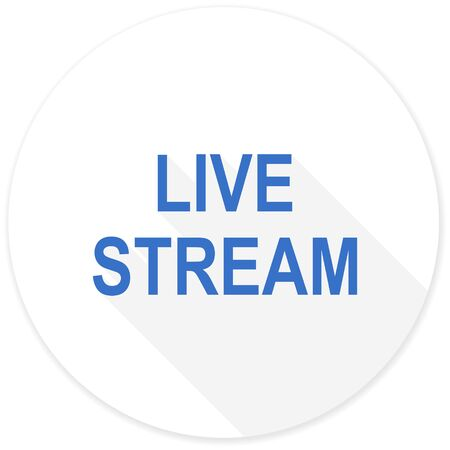 live stream sign: live stream flat design modern icon with long shadow for web and mobile app