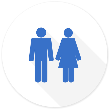 people shadow: couple flat design modern icon with long shadow for web and mobile app Stock Photo