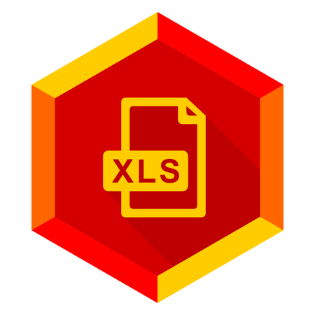 calc: xls file flat design modern icon with long shadow for web and mobile app
