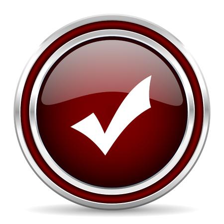 icono web: aceptar icono rojo brillante Web