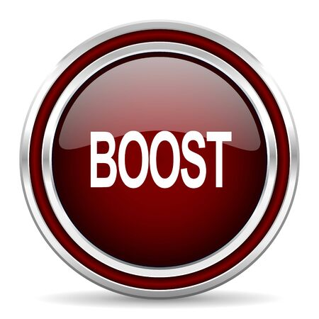 boost: boost red glossy web icon Stock Photo