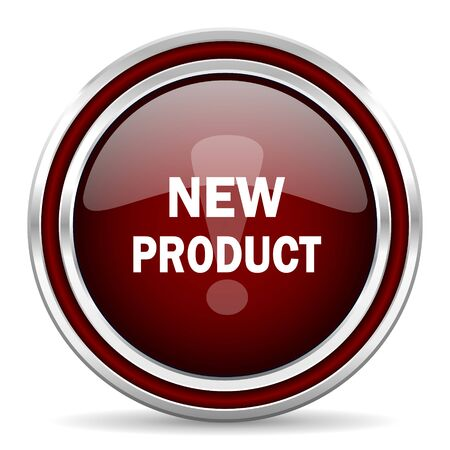new product: new product red glossy web icon Stock Photo