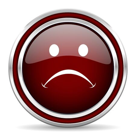 negate: cry red glossy web icon Stock Photo
