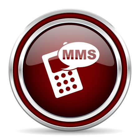 mms: mms red glossy web icon Stock Photo