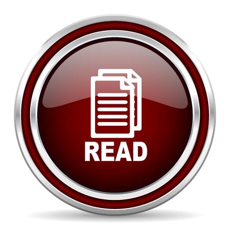 icono web: leer icono rojo brillante Web