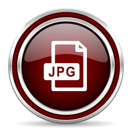 jpg: jpg file red glossy web icon Stock Photo