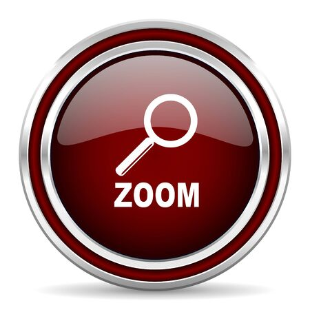 zoom: zoom red glossy web icon Stock Photo