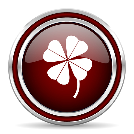 red clover: four-leaf clover red glossy web icon