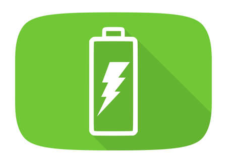 accuse: battery flat design modern icon with long shadow for web and mobile app