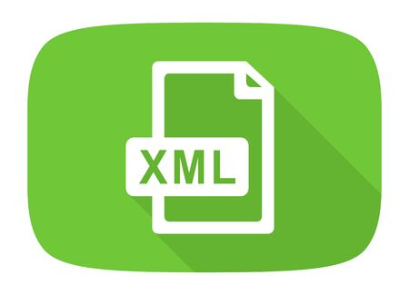 xml: xml file flat design modern icon with long shadow for web and mobile app Stock Photo