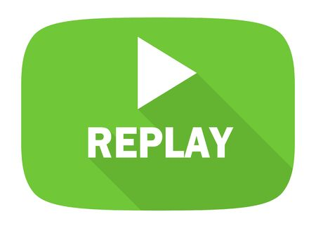 proceed: replay flat design modern icon with long shadow for web and mobile app