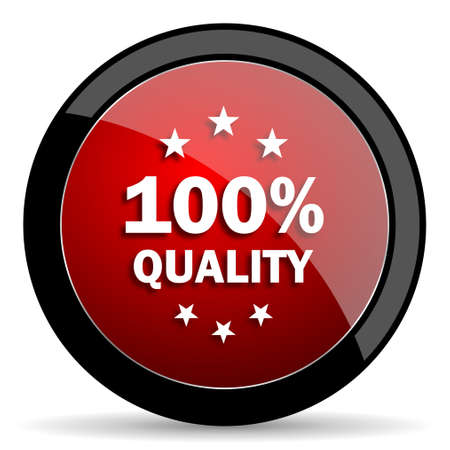 quality icon: quality red circle glossy web icon on white background - set440 Stock Photo